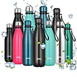 Amazon Brand - <span class='highlight'><span class='highlight'>Umi</span></span> Water Bottle, 500ml Vacuum Insulated Sport Bottle, 12 Hours Hot/24 Hours Cold, Double Walled 18/8 Stainless Steel Water Flask for Outdoor, School, Run, Grey