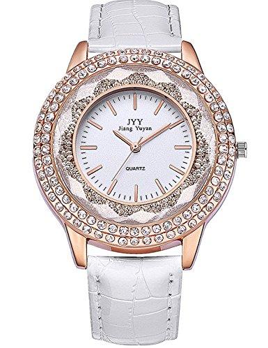 HYK Damenuhren Günstig Diamanten Silber Analog Quarz mit Leder Armband