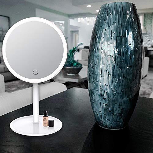 Kosmetikspiegel mit Licht, LED Schminkspiegel mit 3 Farbe Modus, Touchscreen Dimmbare Beleuchtet, 360° Schwenkbar, led Reise Spiegel für Arbeits/Tischplatte durch Akku oder USB-Aufladung