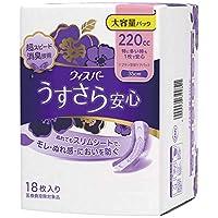 ウィスパー うすさら安心 女性用 吸水ケア 220cc 特に多い時も1枚で安心 ナプキン型尿ケアパッド 18枚入り 35cm 大容量パック(多い量の尿モレ用)×4個