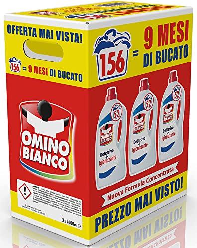 Omino Bianco - Detersivo Lavatrice Igienizzante Liquido, 156 Lavaggi, Igienizza i Capi e Rimuove Germi e Batteri, Formato Convenienza, 2600 ml x 3 Confezioni