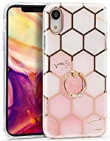 Imikoko iPhone XR ケース リングケース キラキラ 大理石柄 【メッキバンパー レンズ特別保護】 二重構造 バンパー メタルスタンド 新型 女性向け おしゃれ かわいい 純正 PC+TPU (iPhonexr ライトピンク)