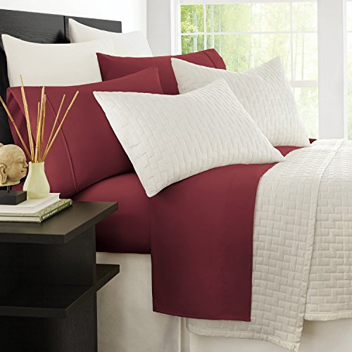 Zen Bamboo 1800 Series Luxury Bed Sheets - Eco-Friendly, Hypoallergenic and Wrinkle Resistant Rayon Derived from Bamboo - 4-Piece - Queen - Burgundy