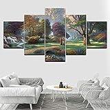 YTDZ Painting 5 Piezas Cuadro sobre Lienzo Imagen Parque Forestal del Mundo de Cuento de Hadas Hermoso 200x100cm Impresión Pinturas Murales Decor Dibujo Fotografía para Tu Salón o Dormitorio