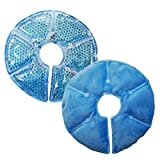 Breast Therapy Pads Breast Ice Pack, Hot Cold Breastfeeding Gel Pads, Boost Milk Let-Down with Gel Bead Pads, 2 Count (Teal, Small Diameter: 6.7') (Blue, Large Diameter: 7.5')