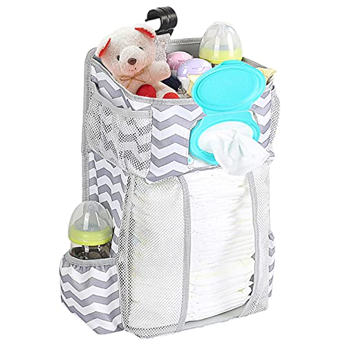 Hanging Diaper Caddy Organizer Stacker - Hanging Diaper Organizer for Changing Table and Crib, Diaper Stacker and Crib Organizer | Hanging Diaper Caddy Organizer for Baby Essentials (without light)