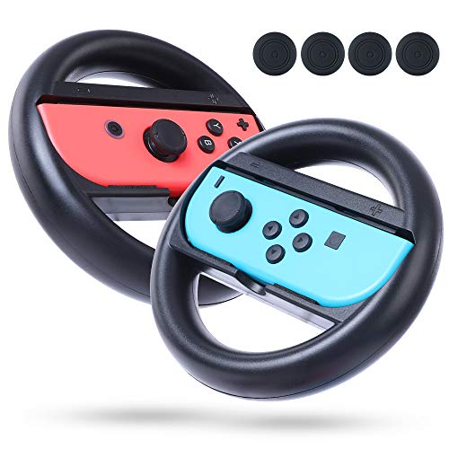 Steering Wheel for Nintendo Switch Joy-Con, Racing Steering Wheel Controller Handle 2 pack with 4 Thumb Grip Caps