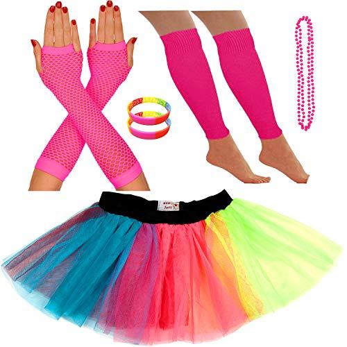 Redstar Fancy Dress® - Tutu-Röckchen, Beinstulpen, Netzhandschuhe, Perlenkette und breite Gummiarmbänder - Neonfarben - Regenbogen - 36-40