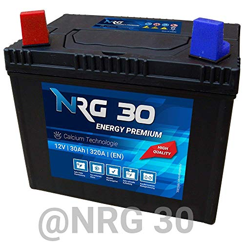 NRG Premium Batterie 30Ah 12V Rasentraktor Aufsitzmäher Plus Pol Links für Gartengeräte und Aufsitzrasenmäher