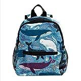 Sac à Dos Enfant Baleines Mammifères Marins Sac à Dos pour Enfant Sac d'école pour Tout-Petits Porte-Sac pour Enfant de 3 à 8 Ans 25.4x10x30 CM