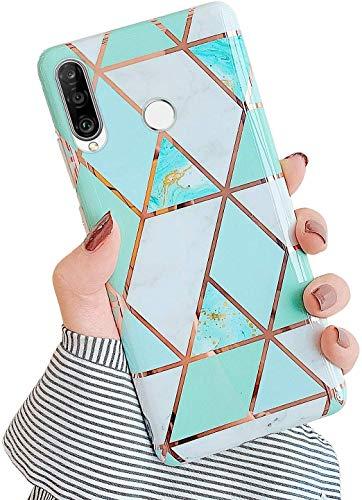 Saceebe Compatible avec Huawei P30 Lite Coque Etui Silicone 3D Géométrique Marbre Housse Léger Mince Flexible Étui Femme Fille Coloré Peint Housse Protection Slim Gel Cover,Vert