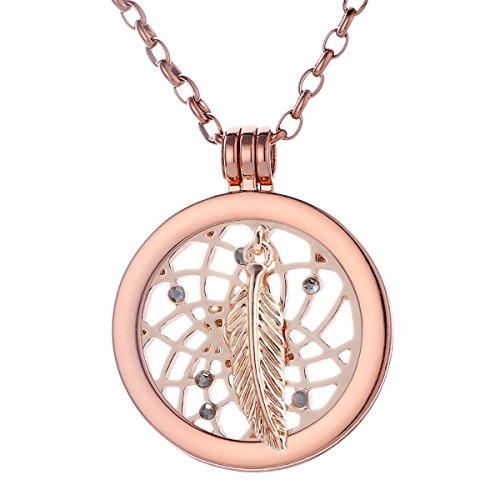 Morella Damen Halskette Rosegold 70 cm Edelstahl mit Amulett und Coin 33 mm Traumfänger Rosegold in Schmuckbeutel