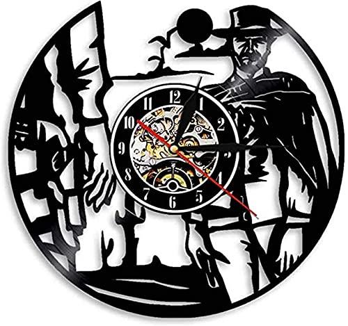 SHILLPS Western World Shadow Cowboy Disco de Vinilo Reloj de Pared Antiguo Regalo Occidental retroiluminación led Creativa con Control Remoto Reloj Decorativo sin LED