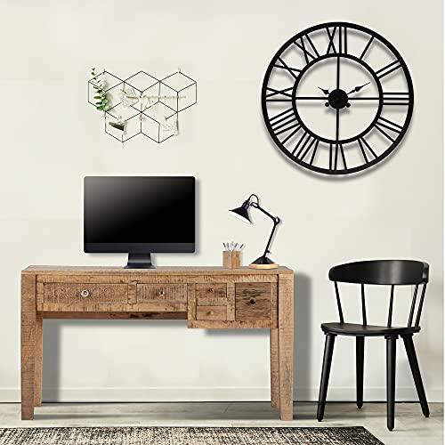 WOMO-DESIGN Escritorio con 5 Cajones 77x136x40 cm Ideales para Guardado Color Natural Madera Mango y MDF Mueble de Ordenador PC Pórtatil Mueble Mesa de Trabajo Estudio Hogar u Oficina