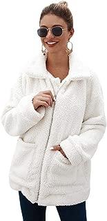 YYW Women's Long Sleeve Faux Fleece Shearling Fluffy Coat Zipper Winter Warm Faux Fur Coat Jacket