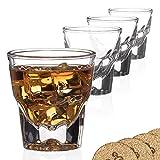 Set of 4 Gibraltar Rocks / Espresso Glasses - 4.5 ounce - for cortado coffee shots - w/ coasters