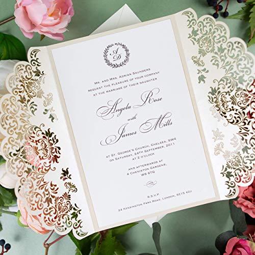 50 CARTE CONFEZIONE Fai da te partecipazioni matrimonio taglio laser inviti matrimonio crema carta con busta