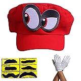 Super Mario Gorra Odyssey - Conjunto de 1x Guantes y 6X Barba pegajosa Costume para Adultos y niños...