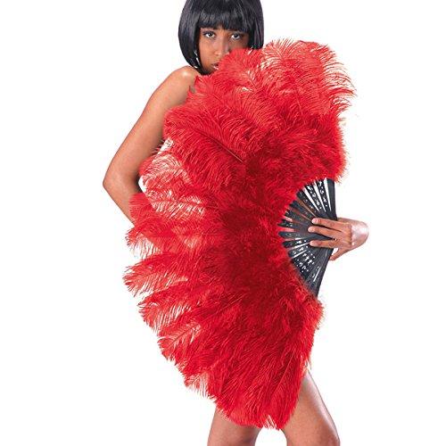 Ventaglio gigante ROSSO extra lusso in piume di struzzo per burlesque