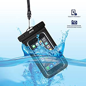 "Bolsa Estanca Móvil Universal, JOTO IPX8 Bolsa Seca Impermeable para iPhone XS Max/XR/X/8/7+/6S/6S+, Galaxy S10/S10e/S9/S9+/Note8, Pixel 3, Huawei Xiaomi LG BQ hasta 6"" Diagonal -Negro"