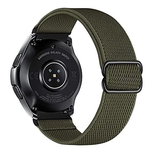 iBazal Bracelet en nylon tressé Solo Loop élastique pour Samsung Galaxy Watch 46 mm, Gear S3 Frontier Classic, Huawei Watch GT 2 Vert