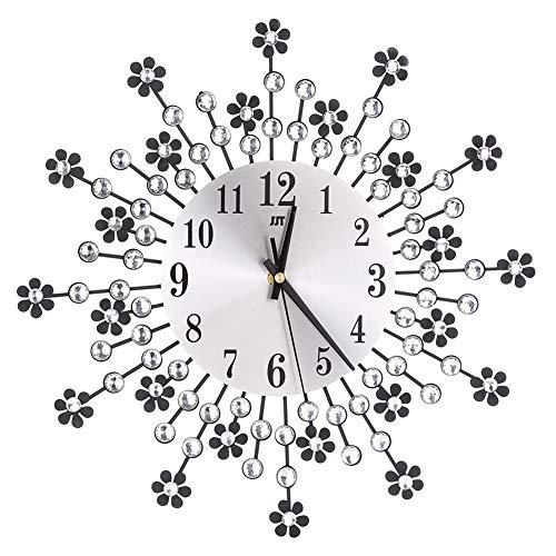 Reloj De Pared Vintage Cristal Flores Relojes De Pared Moderno Digital Silencioso, Salon Decor De Reloj De Pared Plata Redondo Dormitorio Metal Dorado Reloj Colgante Silver