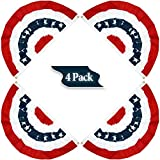 PINCHUANG 1.5x3Ft USA Patriotic Pleated Fan Flag - 4PC American US Flag Bunting Banner Patriotic Bunting Flag Stars and Stripes Flag Bunting for Memorial Day The 4th of July and Labour Day