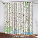 CoSept Window Curtains,Map of Barcelona City Streets Parks Subdistricts Points of Interests Decorative,for Bedroom (2 Panels,51.96x84.64 Inch),Beige Lime Green Light Blue