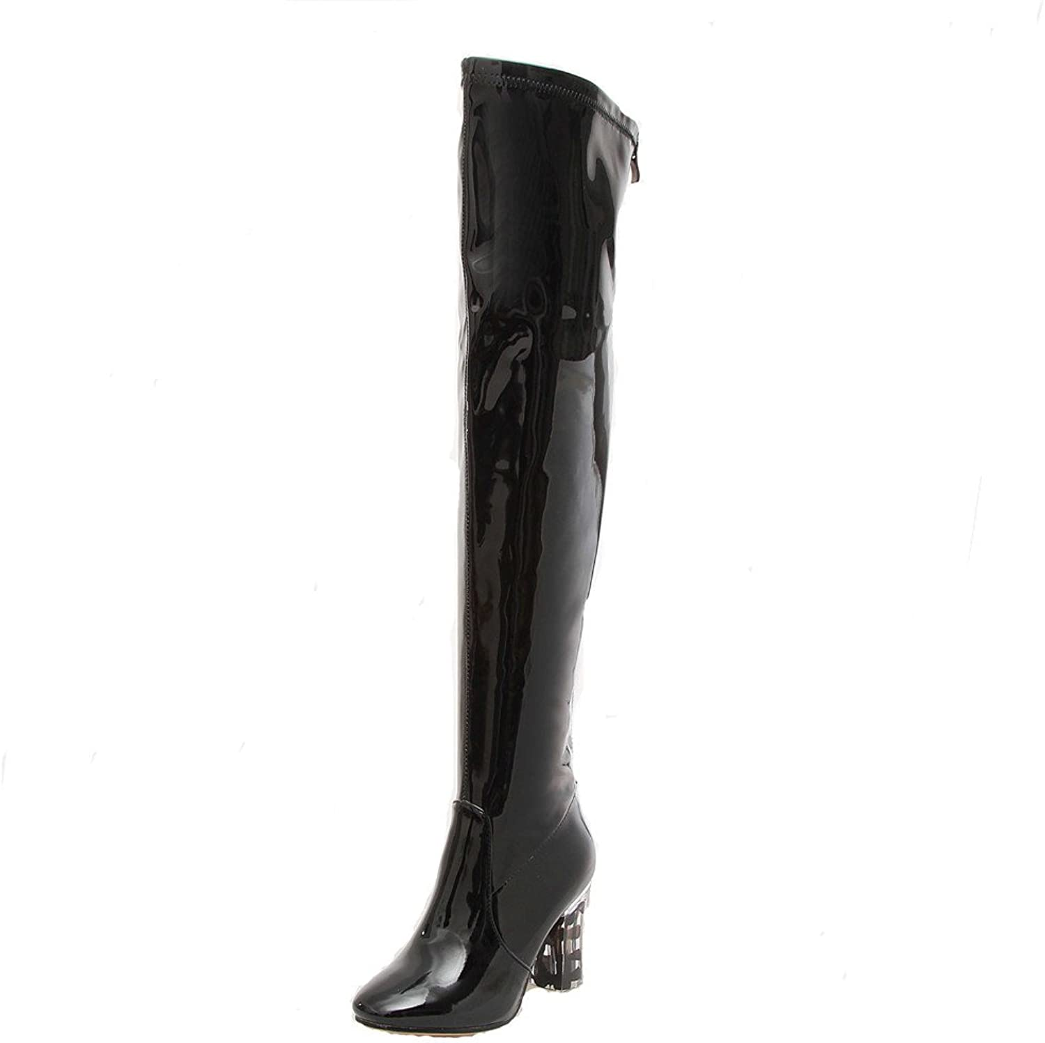Nine Seven Patent Leather Women's Square Toe Exquisite Chunky Heel Zip Handmade Over The Knee Boot
