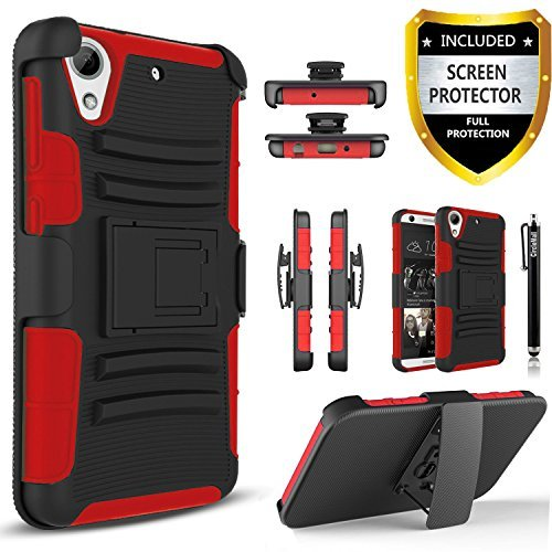 HTC Desire 626s Case, Combo Rugged Shell Cover Holster with Built-in Kickstand and Holster Locking Belt Clip Red + Circle(TM) Stylus Touch Screen Pen and Screen Protector