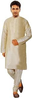 JBN Creation Men Gold Cotton Silk Kurta Pyjama (Size: 44)