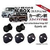 (スライドドア対応)ホンダ新型N-BOX&N-BOXカスタム(JF3/JF4)専用 カーボン柄ドアストライカー&ドアヒジカバーセット ドレスアップパーツアクセサリー