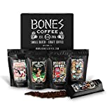 Bones Coffee Favorite Flavors Sample Pack, Flavored Ground Coffee Beans Sampler Gift Box Set, Pack of 5 Assorted Flavored Coffee Beans (Ground)