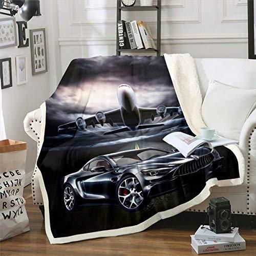 Loussiesd Manta de sherpa de aviones con forro polar volador, manta de felpa para sofá, cama, dormitorio, estilo fresco, manta de viaje, doble de 152 x 192 cm