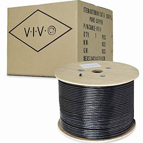 VIVO Black 500ft Bulk Cat6, Full Copper Ethernet Cable, 23 AWG, Cat-6 Wire, Waterproof, Outdoor, Direct Burial (CABLE-V014)