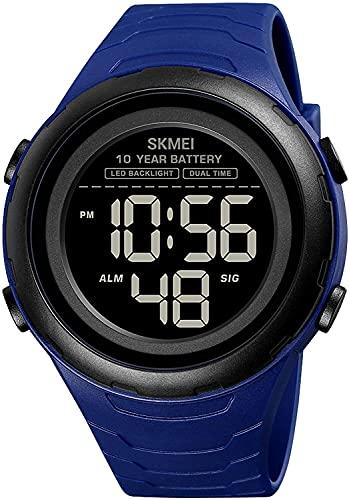 YQCH Relojes Digitales Deportivos para Hombres Dual Tiempo 5ATM AUMENTACIÓN A Prueba de Agua Alarma táctica Militar LED LED Reloj de Pulsera (Color : Blue)