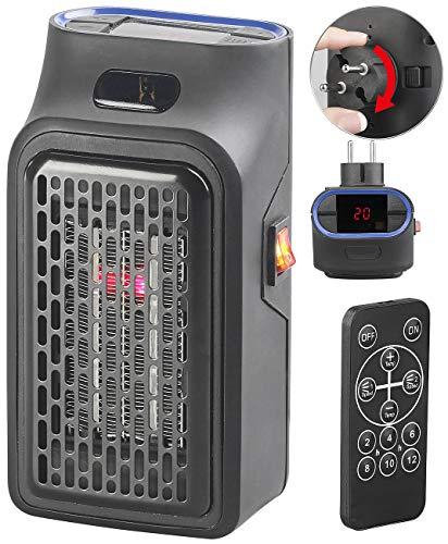Sichler Haushaltsgeräte Steckdosenheizung: Mini-Steckdosen-Heizlüfter mit Timer & Fernbedienung, 2-stufig, 500 W (Mini Heizer)