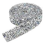 90 * 1.5 cm Cinta de Diamantes de Imitación Borde de Cinta de Cristal Strass Autoadhesivo Diamante Rollo Decoración para Yopa Vestido Cinturón Tartas De Boda, Mezclado Diamante de Color y Plata