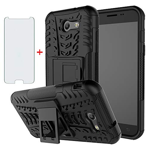 Phone Case for Samsung Galaxy J3 Luna Pro J 3 Prime 2017 Emerge 3J Eclipse Mission with Tempered Glass Screen Protector Cover Stand Hard Rugged Hybrid Cell Accessories Glaxay S327VL Cases Men Black