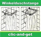 DRULINE Winkelduschstange Duschvorhangstange Duschstange Vorhangstange verchromt sicherer Halt zum Bohren Verschiedene Größen | L 80-240 cm | Silber Chrom