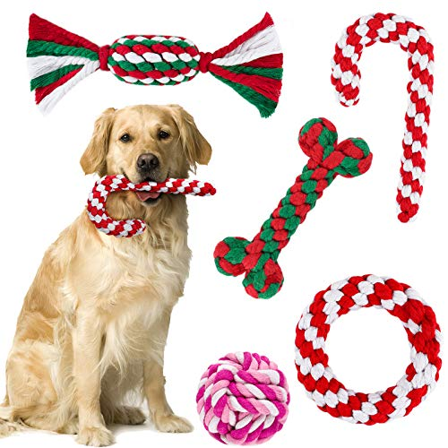 ADXCO 5 Pack Christmas Dog Rope Toys for Aggressive Chewable Christmas Theme Pet Chew Toys Crutch and Bone Shape for Small Medium Large Dog