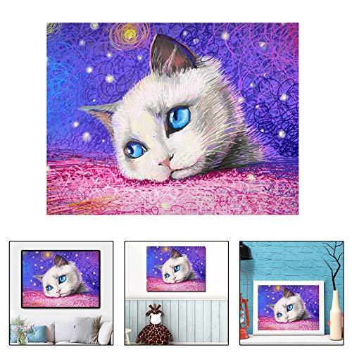 Kit de pintura de diamante 5D con diseño de gato y bordado colorido, para niños, pintura de diamante por números, juego de cristal completo, decoración de pared para el hogar