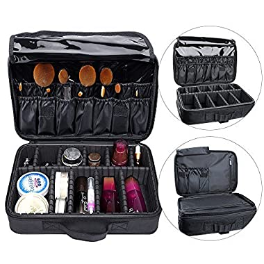 AUGYMER Travel Makeup Bag,13.4inch 3 Layer Train Make up Bag Cosmetic Case Organizer Kit with Carry Handle for Travel & Home