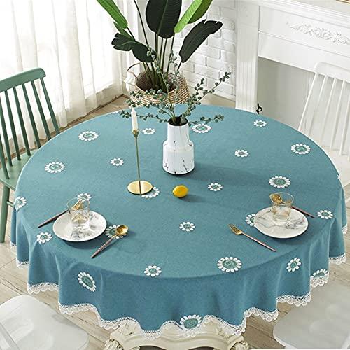 Cozomiz Mantel de lino de algodón embroidey con dobladillos de encaje para muebles de mesa redonda, cubierta protectora de tapicería, mantel decorativo moderno, diámetro verde: 47 pulgadas