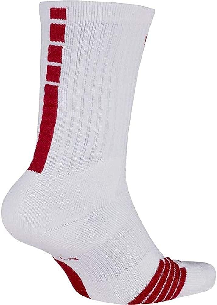 Nike Mens Elite Basketball Crew Socks White/Red Large