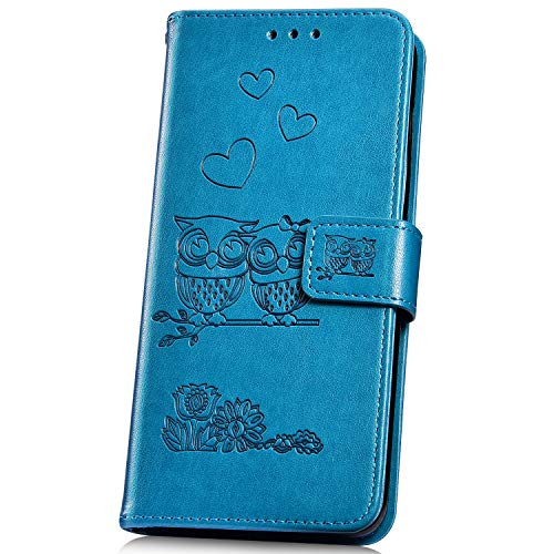 JAWSEU Compatible avec Samsung Galaxy A7 2018 Coque Portefeuille PU Étui Cuir à Rabat Magnétique Lovely Belle Gaufrage Chouette Motif Ultra Mince Stand Leather PU Flip Wallet Case,Bleu