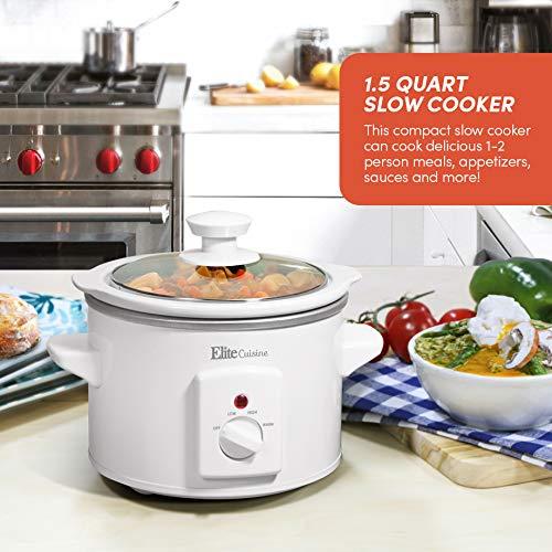 Maxi-Matic MST-250XW Slow Cooker, 1.5 Quart, White