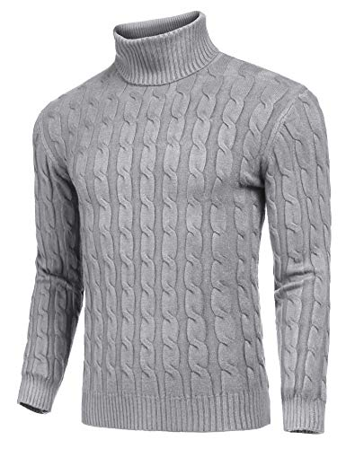 JINIDU Men's Slim Fit Turtleneck Sweater Casual Twisted Knitted Pullover Sweaters (Grey, Medium)