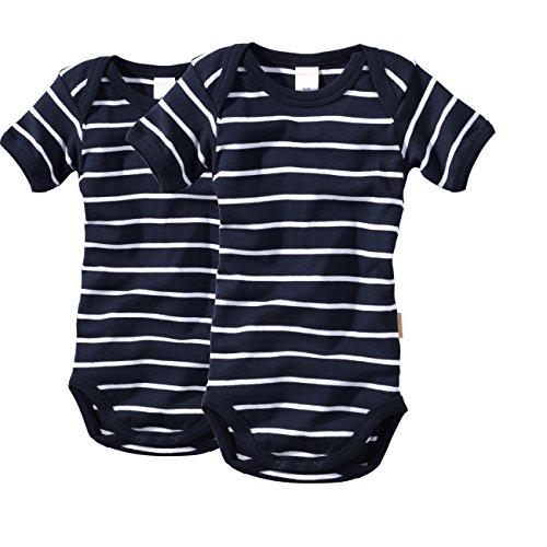 wellyou, 2er Set Kinder Baby-Body Kurzarm-Body, Marine-blau weiß gestreift, für Jungen und Mädchen, Geringelt, Feinripp 100% Baumwolle, Größe 104-110