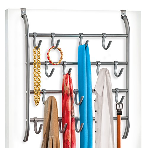 Lynk Over Door or Wall Mount 16 Hook Rack Shirt, Belt, Hat, Coat, Towel Organizer, Platinum